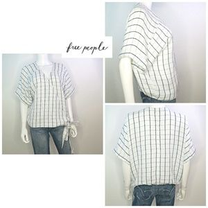 Free People Wrap Tie Knit Blouse